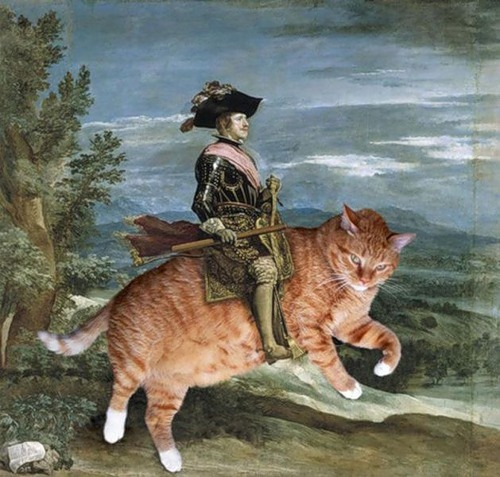 Fat cat Zarathustra in classical painting 'Knight On Horse', by Spanish artist Diego Rodriguez de Silva y Velazquez