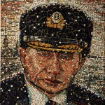 Amateur mosaic portrait of Russian president Vladimir Putin