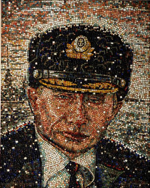 mosaic portrait of Putin made by amateur artist