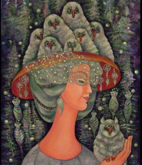 Forest lady. Painting by Russian artist Marina Hintse
