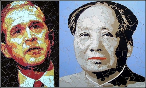 George Bush and Chinese leader. Mosaic portraits by British artist Ed Chapman
