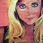 """Sarah Michelle Gellar. 1999 portrait of chewed bubblegum on plywood. From the series """"Gum Blondes"""". Work by Canadian artist Jason Kronenwald"""
