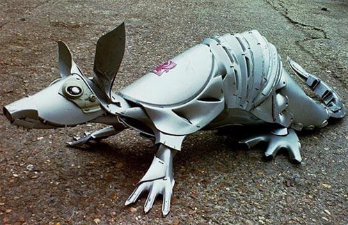 Hubcap creature by British artist Ptolemy Elrington