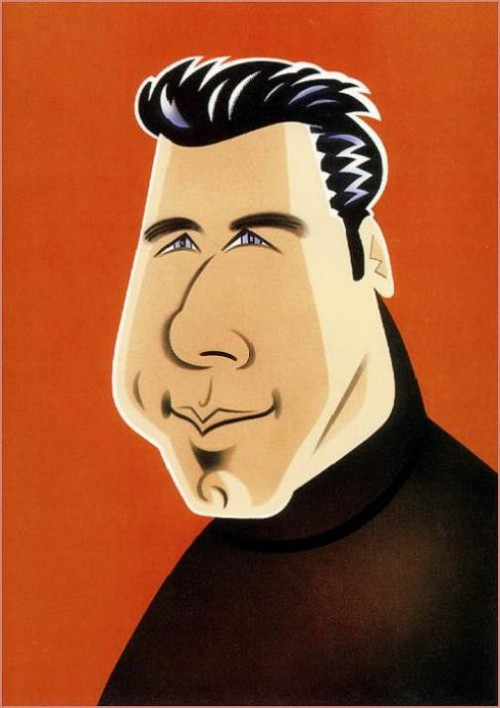John Travolta. Caricatures of celebrities by American artist Robert Risko