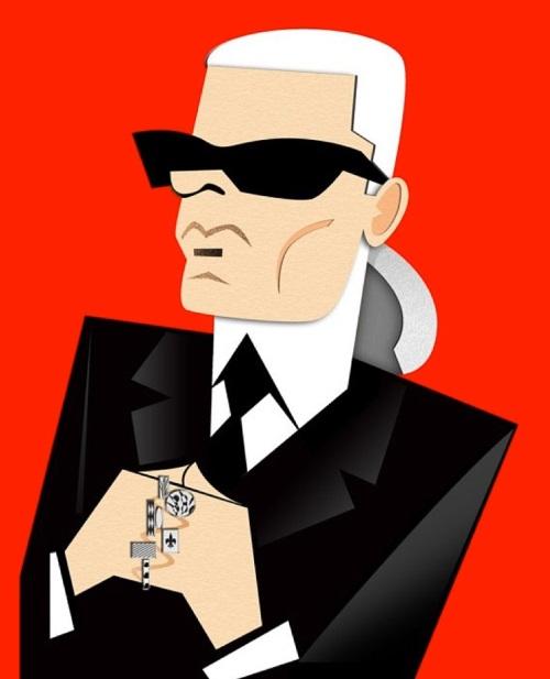 Karl Lagerfeld. Caricatures of celebrities by American artist Robert Risko