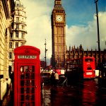 Symbols of Great Britain - red telephone box, a duble-decker and Big Ben in London