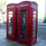 Traditional telephone boxes of London