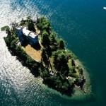 The view from above - Loreto Island in the middle of Lake Iseo in northern Italy