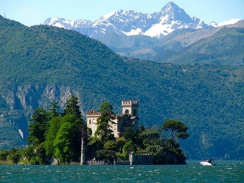 Loreto Island on Lake Iseo in northern Italy