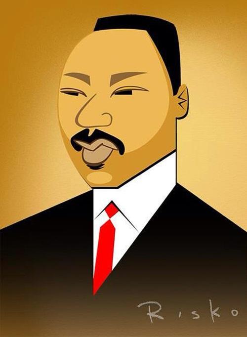 Martin Luther King Jr. Caricatures of celebrities by American artist Robert Risko