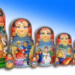 9 pieces Matryoshka from Mytishchi, painted by Russian artist of applied art by Tatiana Ulyanova