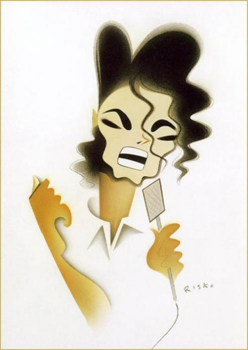 Michael Jackson. Caricatures of celebrities by American artist Robert Risko