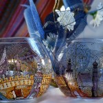 Painted Blue wine glasses. Glassart fantasy by Russian artist of applied art Oksana Vasilyeva