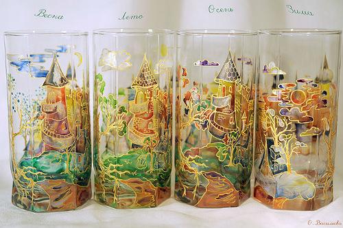 Glassart fantasy - painting on glass by Russian artist of applied art Oksana Vasilyeva
