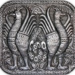 Mythological 'Gryphon'. From the series 'Vladimir-Suzdal antiquity'. aluminum, relief embossing, blackening