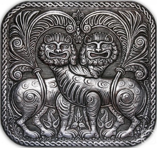 Panel 'Lions'. From the series 'Vladimir-Suzdal antiquity'. aluminum, relief embossing, blackening