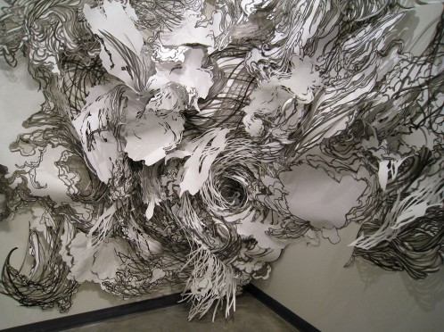 Paper installations by Mia Pearlman