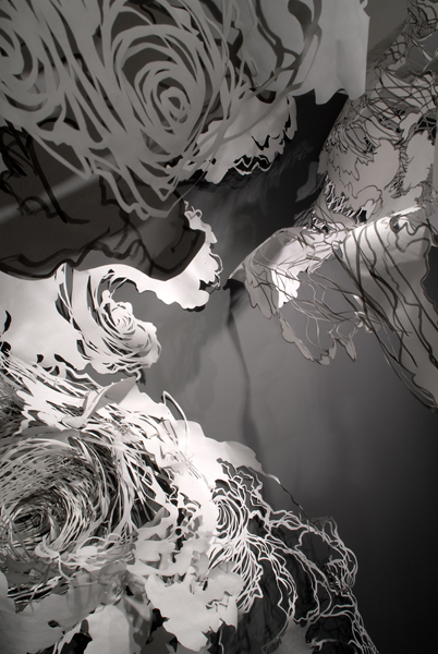 Paper installations by American artist Mia Pearlman