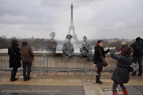 Paris, 1940. Background of the Eiffel Tower - Paris, 2010