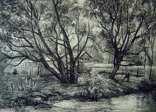 Pen ink landscape drawing by Rustem Kuramshin Tatarstan, Russia
