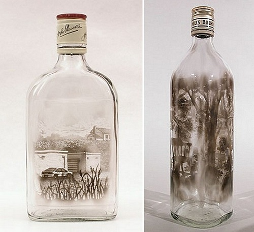 Pictures in a bottle by American artist Jim Dingilian