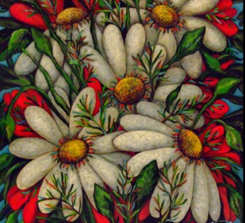 Poppies and daisies. Painting by Russian artist Marina Hintse
