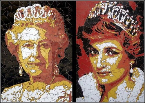 Queen Elizabeth and Princess Diana. Mosaic portraits by Ed Chapman
