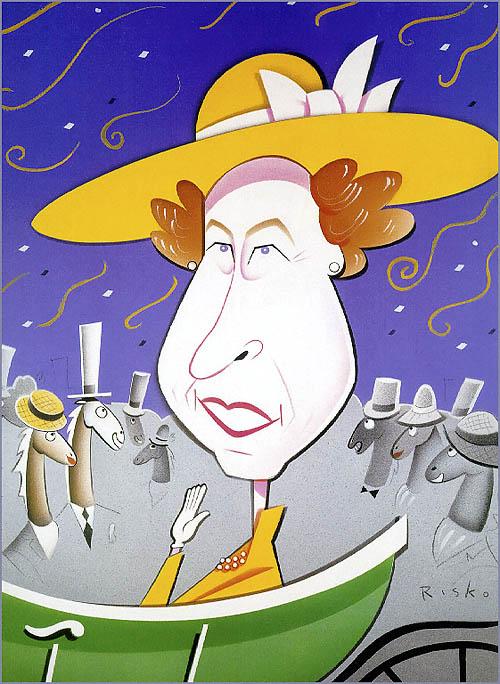 Queen Elizabeth. Caricatures of celebrities by American artist Robert Risko