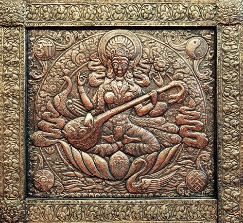 Saraswati (Indian goddess) Panel. Metal art by Victor Morozov