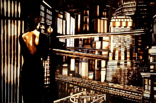 Scenes from the old films made of brown packing tape. Artwork by Amsterdam based artist Max Zorn