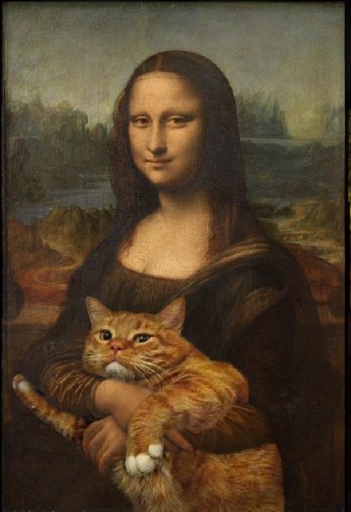 Fat cat Zarathustra in classical paintings. Secret of Mona Lisa's smile is now disclosed. Svetlana Petrova - Fat-cat-art