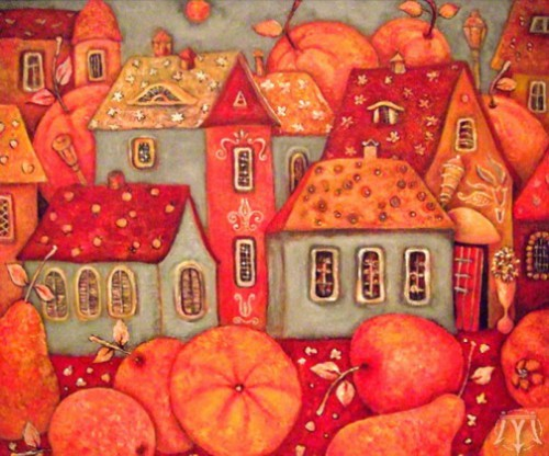 Tasty town. Painting by Russian artist Marina Hinze