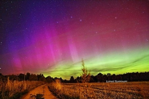 The Aurora Borealis, or the Northern Lights demonstrates many colors, with white, yellow, and red predominating