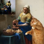 The Kitchen Maid by Johannes Vermeer + Fat cat Zarathustra