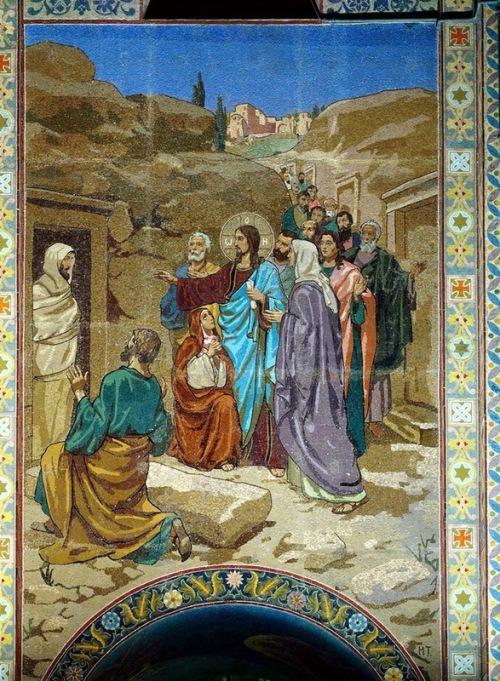 Mosaics in Church of the Savior on Blood. The Raising of Jairus' daughter (the artist FS Zhuravlev)