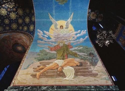 Mosaics in Church of the Savior on Blood. The Sacrifice of Abraham (painter Vladimir Belyaev)