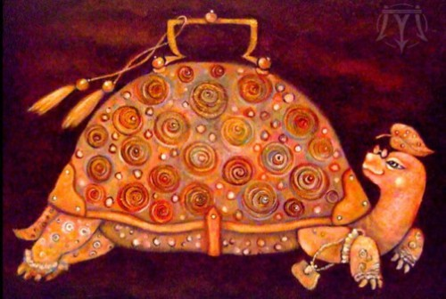 Tortoise. Painting by Russian artist Marina Hintse