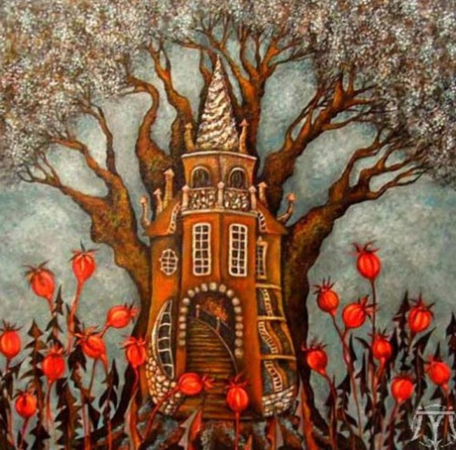 Tree-house. Painting by Russian artist Marina Hinze