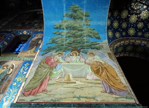 Mosaics in Church of the Savior on Blood. Trinity Old Testament (the artist V. Belyaev)