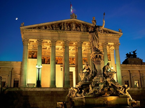 Vienna Austria Pallas Athene Fountain Parliament Building