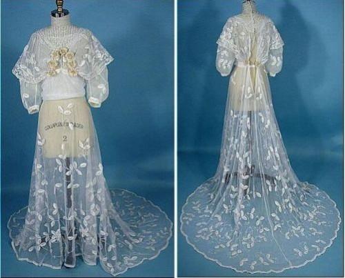 Wedding dress made from the finest embroidered tulle (the upper part, put on underwear dress) and shoes, beaded, 1900s
