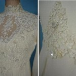 Stunning embroidery. Wedding dress made of chiffon, 1976