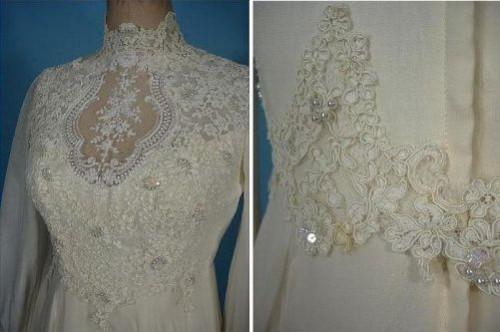 Wedding dress made of chiffon, embroidered, 1976