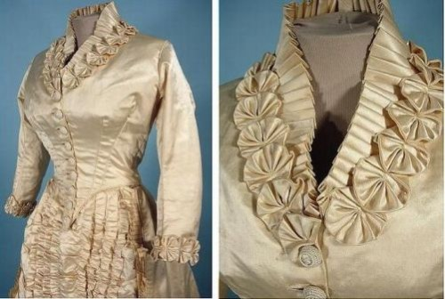 Wedding dress made of satin, trimmed with pearls and silk on the edge, 1882