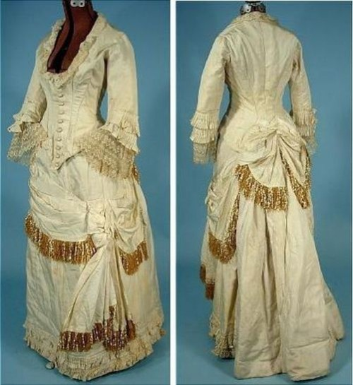 Wedding dress made of silk, the end of the 1870s