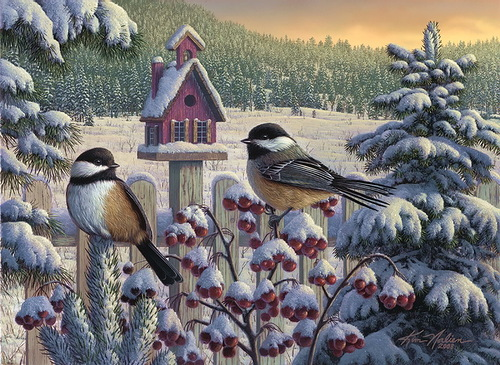 Winter paintings by contemporary American artist Kim Norlien