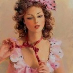 Polka dot bow. Women in paintings by Russian artist Konstantin Razumov