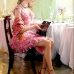 A lady with a handbag. Women in paintings by Russian artist Konstantin Razumov