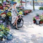Flower market. Women in paintings by Russian artist Konstantin Razumov