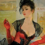 Gorgeous brunette woman in a transperent black blouse. Painting by Russian artist Konstantin Razumov